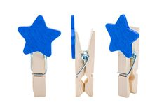 Blue Wooden clip isolated on white background. Colors clips in star shape.  Clipping path