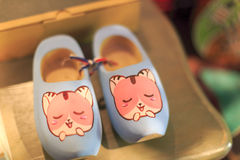 Blue wooden clogs Royalty Free Stock Photos