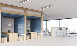 Blue and wooden dining area and cubicles Royalty Free Stock Photography