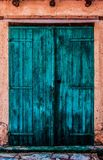 Blue wooden door royalty free stock images