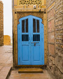 Blue wooden door in Jaisalmer, Rajasthan, India Royalty Free Stock Photography