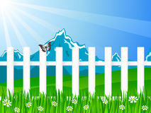 Blue wooden fence vector illustration