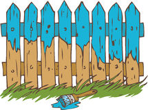 Blue Wooden Fence with Paintbrush. And Green Grass. Painting Process Isolated on a White Royalty Free Stock Images