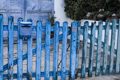 Blue wooden fence. A blue wooden fence in Sainte Marie de la Mer, with the typical colour of some Provence buildings Royalty Free Stock Photo