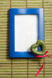 Blue wooden frame with heart Royalty Free Stock Photo