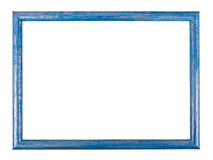 Blue wooden frame on the white background with clipping path Stock Images