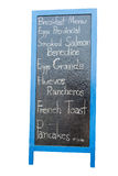Blue wooden framed breakfast menu Royalty Free Stock Image