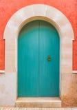 Blue wooden front door Royalty Free Stock Image