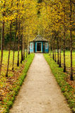 Blue wooden gazebo at the intersection of the tracks in the Park of museum estate Mikhailovskoe Royalty Free Stock Image