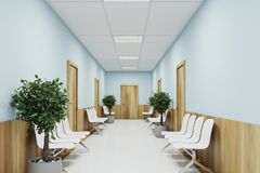 Blue and wooden hospital lobby. With two rows of doors and white chairs for patients waiting for the doctor visit. 3d rendering mock up Royalty Free Stock Photos