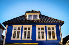 Blue wooden house in bergen, norway Royalty Free Stock Photography