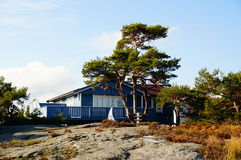 Blue wooden hytte and terrase, Norway Stock Photography