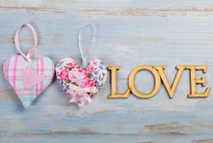 Blue wooden love background Royalty Free Stock Photo