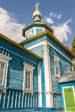 Blue wooden orthodoxy church - Ukraine, Europe. Royalty Free Stock Photo
