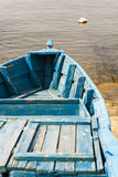 Blue wooden rowing boat. Royalty Free Stock Images