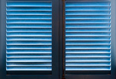Blue wooden shutters Royalty Free Stock Photo