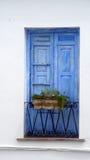 Blue wooden shutters Stock Photos