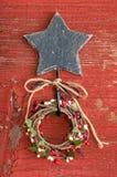 Blue wooden star Stock Photos
