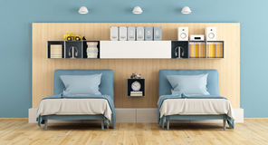 Blue and wooden teenage bedroom Royalty Free Stock Photo