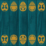 Blue wooden texture with eggs Royalty Free Stock Image