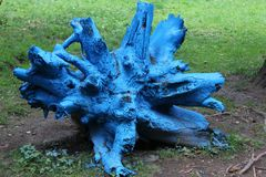 Blue wooden tree stump surrounded by grass royalty free stock image
