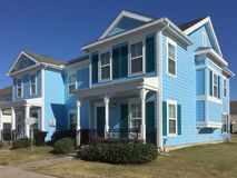 Blue Wooden two floors apartment exterior royalty free stock photo