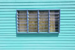 Blue wooden wall with window - Series 2 Stock Photo