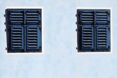 Blue wooden window Stock Image
