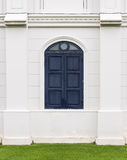 Blue wooden window. Royalty Free Stock Image