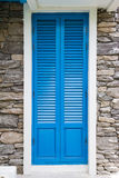 Blue wooden window with stone decorate Stock Images