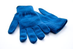 Blue wool gloves Royalty Free Stock Images
