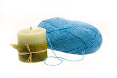 Blue wool hank Royalty Free Stock Image
