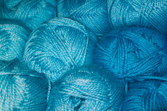 Blue wool. Many woolen yarn blue color, rich texture royalty free stock photo