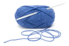 Blue Wool and Needles Royalty Free Stock Photo