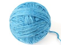 Blue wool skein Royalty Free Stock Photography