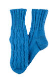 Blue wool socks isolated Stock Images