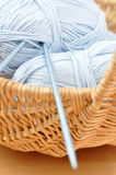 Blue Wool in a Wicker Basket Royalty Free Stock Photos