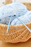 Blue Wool in a Wicker Basket Stock Photo
