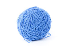 Blue wool yarn isolated Royalty Free Stock Images