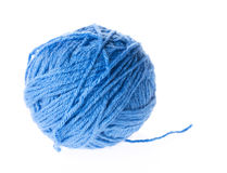 Blue wool yarn isolated Royalty Free Stock Photos