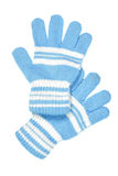 Blue woollen gloves. Children's wear - woollen gloves isolated over white background Royalty Free Stock Photos