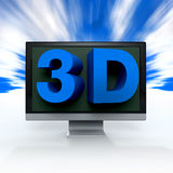 Blue word 3D comes on a black flat screen monitor. To illustrate the three dimensions Stock Photography