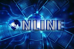 Blue word Online with 3D globe replacing letter O. Global internet concept, global communication. 3d rendering vector illustration