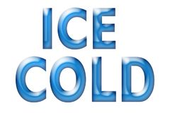 Blue words Ice Cold on a white background royalty free stock image