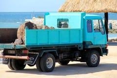 Blue work truck bringing boulders to work area, Golden Point Resort, Fiji, 2015 Stock Photography