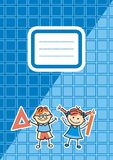 Blue workbook with name tag, vector icon Stock Photography