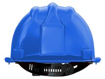 Blue worker helmet of a construction site on a white background 3d rendering vector illustration