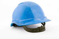 Blue working helmet. Isolated on white background Stock Image