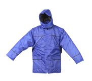 Blue working winter coat with hood. Stock Images