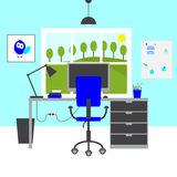 Blue workplace Stock Images